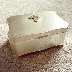Silver Swarovski crystal cross jewelry box
